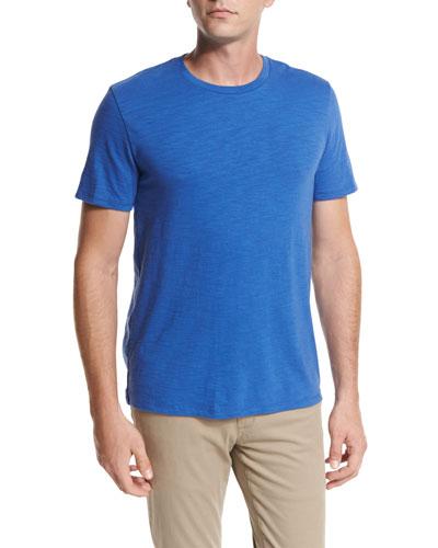Slub Cotton Crewneck T-Shirt, Bright Blue
