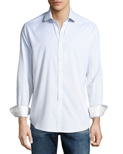 Parth Check Sport Shirt, White