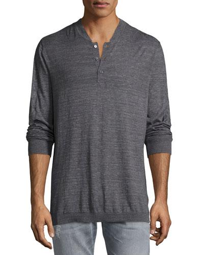Tripp Heather Henley T-Shirt, Charcoal