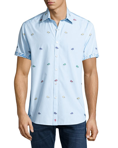 Hot Rod Short-Sleeve Sport Shirt, Teal
