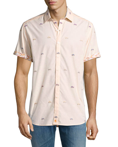 Motorcycle-Print Short-Sleeve Sport Shirt, Tangerine