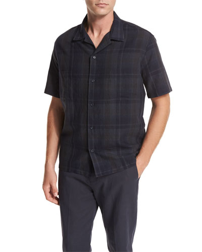 Plaid Short-Sleeve Cabana Shirt, Black
