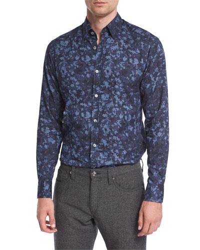Autumnal Print Sport Shirt, Blue