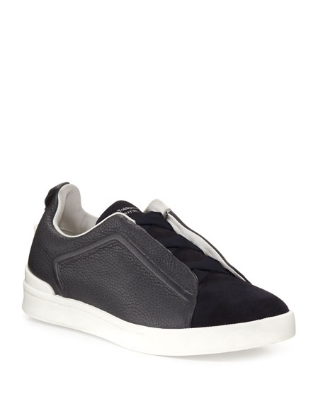 Ermenegildo Zegna Men's Couture Triple-Stitch Leather & Suede Low-Top Sneakers, Navy