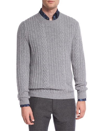Pure Cashmere Modern Cable-Knit Sweater, Gray