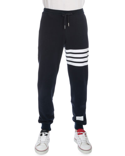 Drawstring Cotton Sweatpants with Leg-Stripe, Navy