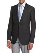 Textured Wool-Silk Peak-Lapel Sport Coat, Black