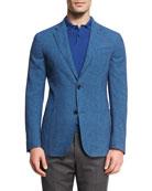 Gingham Seersucker Two-Button Blazer, Blue