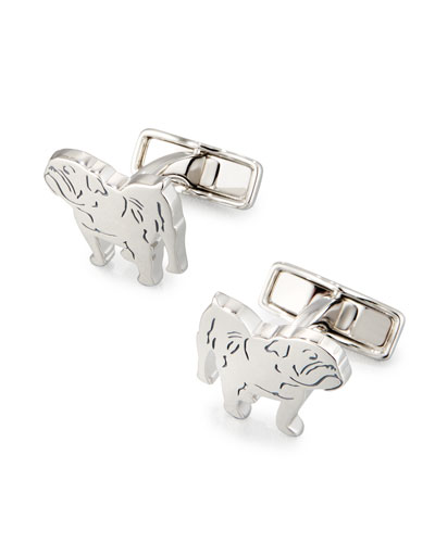 Bulldog Rhodium-Plated Cuff Links