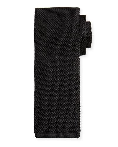 Solid Open-Weave Knit Tie, Blue
