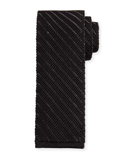 Striped Knit Silk Tie, Black