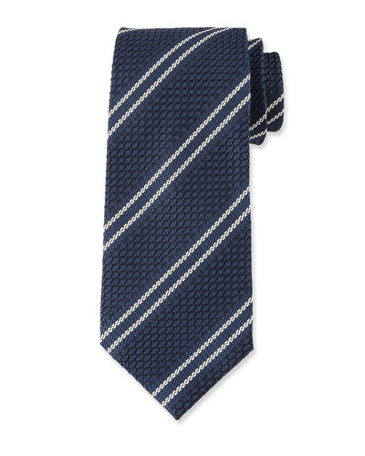 Retro 3D Stripe Silk Tie, Blue