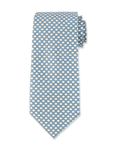 Dot-Print Silk Tie, Light Blue