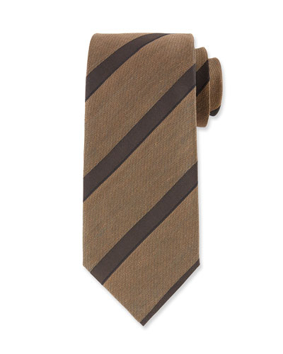 Wide Diagonal Stripe Silk Tie, Brown