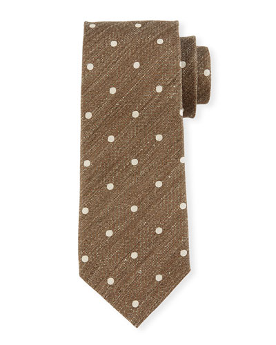 Textured Polka Dot Tie, Gray