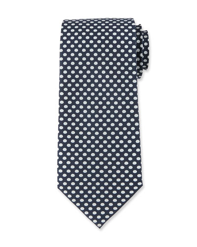 Dot-Print Silk Tie, Dark Blue