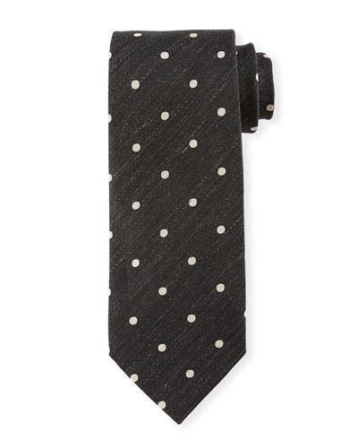 Textured Polka Dot Tie, Dark Blue