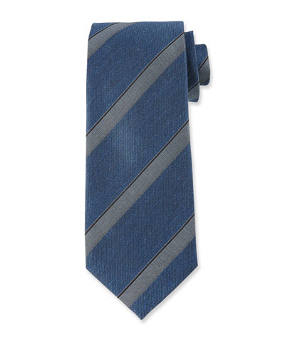 Wide Diagonal Stripe Silk Tie, Blue