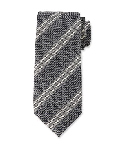 Retro 3D Stripe Silk Tie, Gray