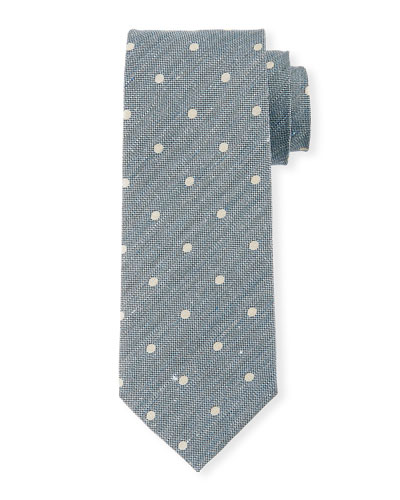Textured Polka Dot Tie, Blue