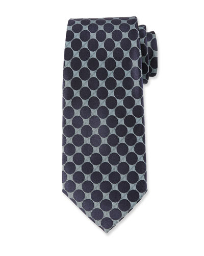Large Dot Silk Tie, Blue