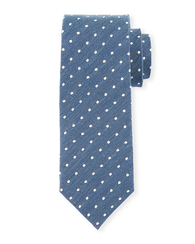 Small-Dot Textured Silk Tie, Blue