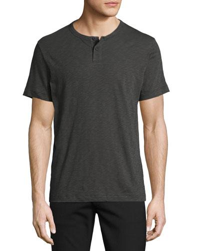 Gaskell Nebulous Short-Sleeve Henley T-Shirt, Dark Gray