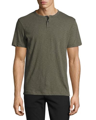 Gaskell Nebulous Short-Sleeve Henley T-Shirt, Green