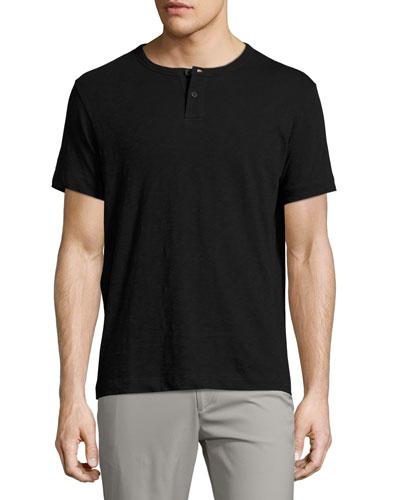 Gaskell Nebulous Short-Sleeve Henley T-Shirt, Black