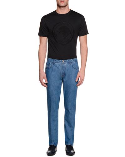 Five-Pocket Slim-Fit Denim Jeans, Light Blue