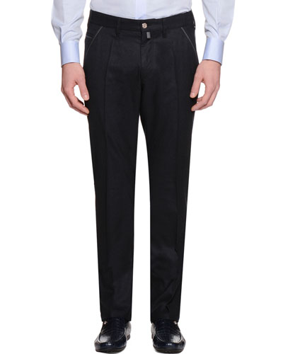 Slim-Fit Denim Pants, Black
