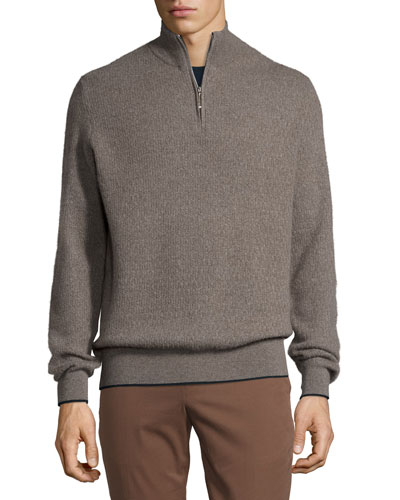 Cashmere Half-Zip Sweater, Gray