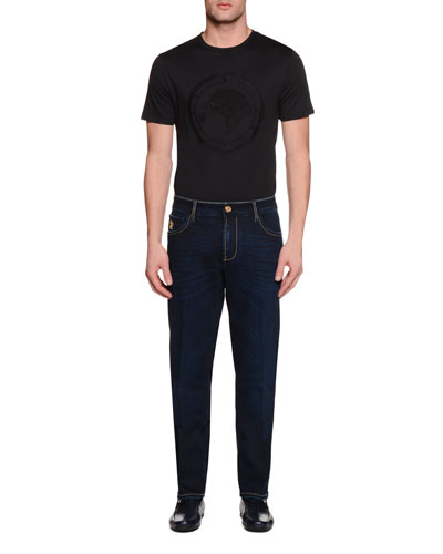 Five-Pocket Slim-Fit Denim Jeans, Blue