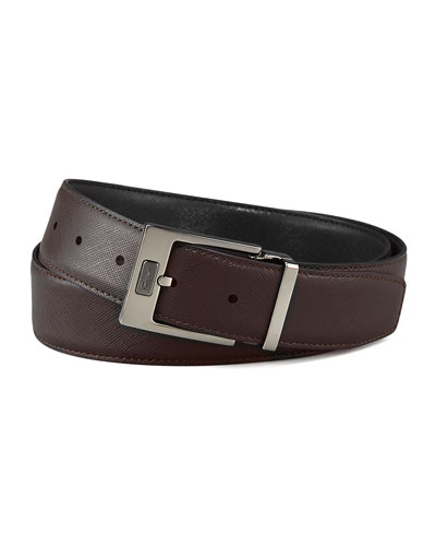 Pebbled Reversible Leather Belt