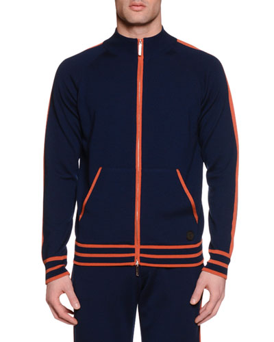 Contrast-Trim Zip-Up Jogging Jacket, Navy