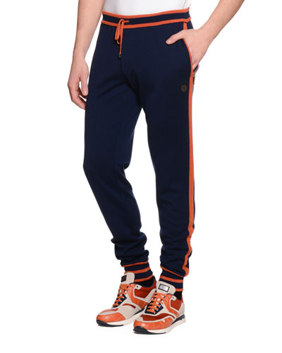 Contrast-Trim Drawstring Jogging Pants, Navy