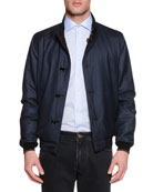 Reversible Silk Bomber Jacket, Blue/Brown