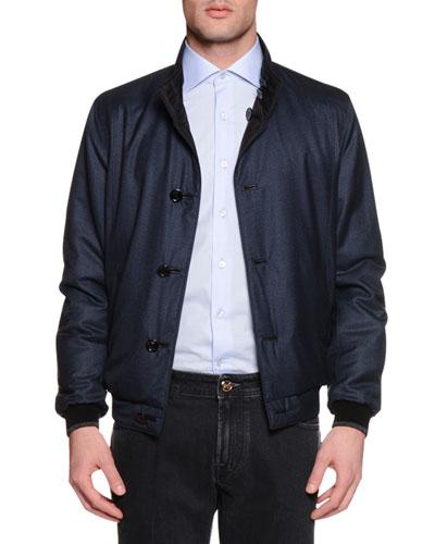 Reversible Silk Bomber Jacket, Blue/Brown