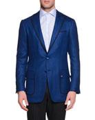Cashmere-Blend Two-Button Sport Coat, Blue