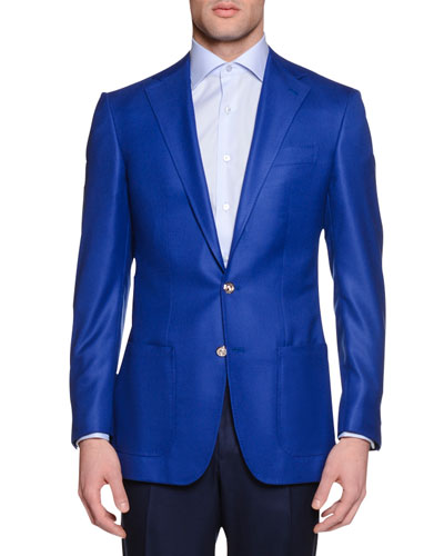 Solid Two-Button Wool Sport Coat, Blue