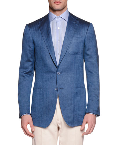 Wool-Silk Two-Button Sport Coat, Blue