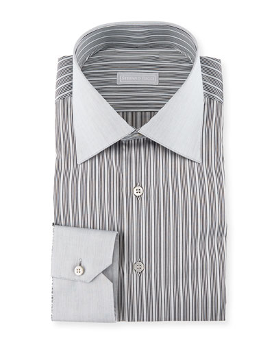 Contrast Collar/Cuff Striped Dress Shirt, Gray