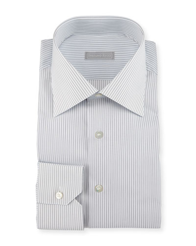 Striped Dress Shirt, White/Black