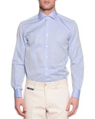 Check French-Cuff Sport Shirt, Light Blue