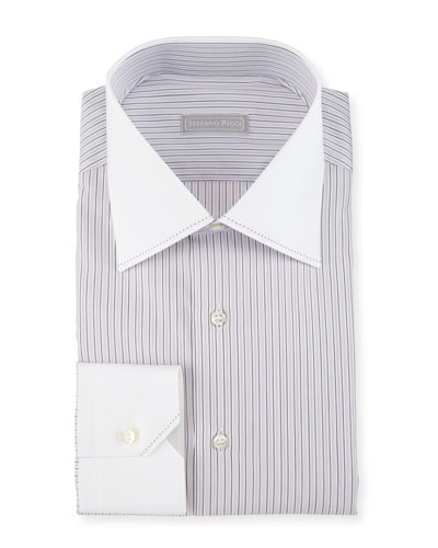 Contrast Collar/Cuff Striped Dress Shirt, Purple