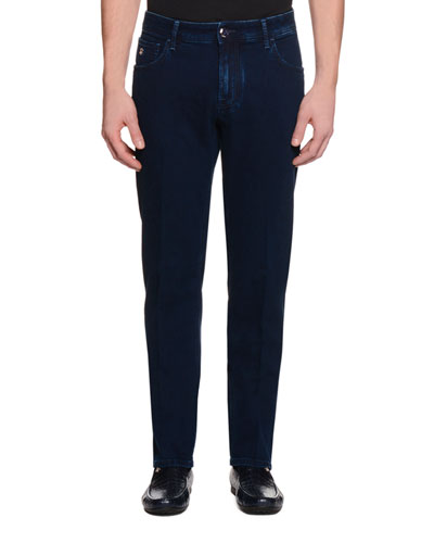 Five-Pocket Slim-Fit Denim Jeans, Denim