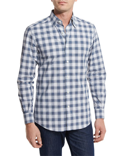 Check Plaid Sport Shirt, Navy