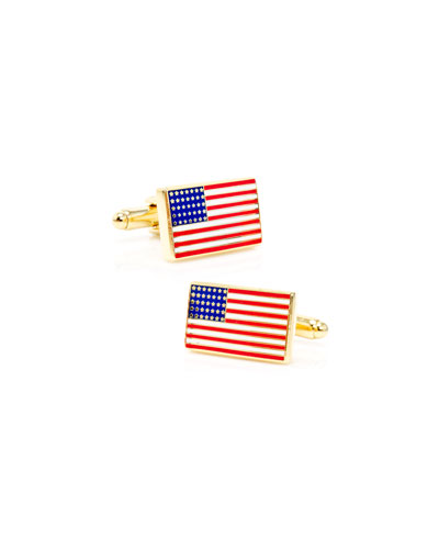Golden American Flag Cuff Links