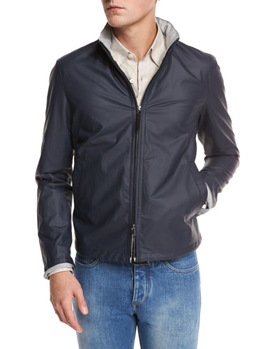 Waxed Cotton-Blend Bomber Jacket, Navy