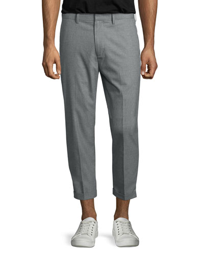 Cropped Chino Trousers, Gray